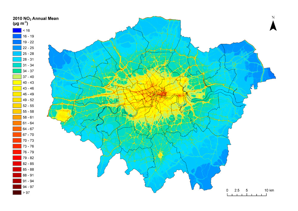 London NO2 emmsions map